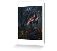 Death - Dark Fallen Angel in Cemetery Greeting Card