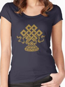 Eternal Knot, Lotus Flower, Buddhism, Auspicious Symbol Women's Fitted Scoop T-Shirt