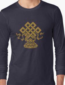 Eternal Knot, Lotus Flower, Buddhism, Auspicious Symbol Long Sleeve T-Shirt