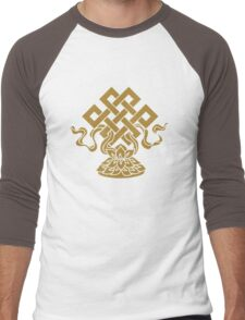 Eternal Knot, Lotus Flower, Buddhism, Auspicious Symbol Men's Baseball ¾ T-Shirt
