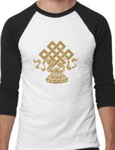 Eternal Knot, Lotus Flower, Buddhism, Auspicious Symbol Men's Baseball ¾ T-Shirt