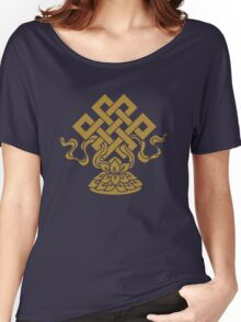 Eternal Knot, Lotus Flower, Buddhism, Auspicious Symbol Women's Relaxed Fit T-Shirt