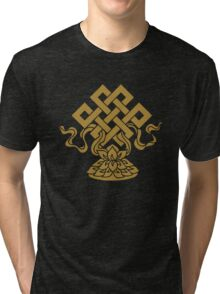 Eternal Knot, Lotus Flower, Buddhism, Auspicious Symbol Tri-blend T-Shirt