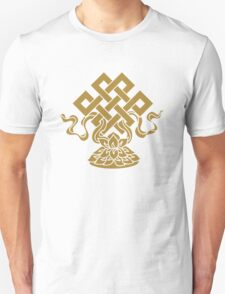 Eternal Knot, Lotus Flower, Buddhism, Auspicious Symbol Unisex T-Shirt