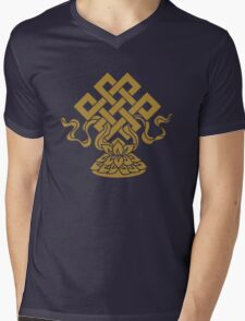 Eternal Knot, Lotus Flower, Buddhism, Auspicious Symbol Mens V-Neck T-Shirt
