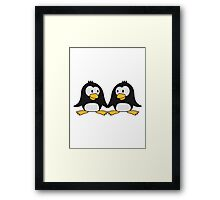 2 cute penguins lovers in love couple love Framed Print