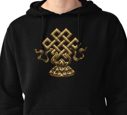 Tibet Endless Knot, Lotus Flower, Buddhism, Eternal Knot Pullover Hoodie