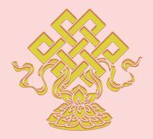 Tibetan Endless Knot, Lotus Flower, Buddhism Baby Tee