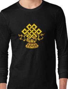 Tibetan Endless Knot, Lotus Flower, Buddhism Long Sleeve T-Shirt