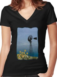 Wind Pump American Style Windmill Women's Fitted V-Neck T-Shirt
