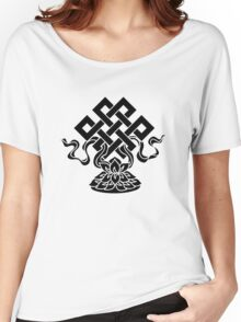 Eternal Knot, Lotus Flower, Buddhism, Lucky Charm Women's Relaxed Fit T-Shirt