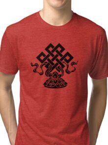 Eternal Knot, Lotus Flower, Buddhism, Lucky Charm Tri-blend T-Shirt