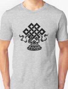 Eternal Knot, Lotus Flower, Buddhism, Lucky Charm Unisex T-Shirt