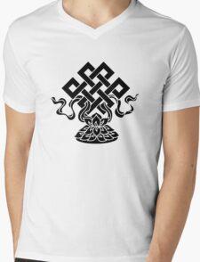 Eternal Knot, Lotus Flower, Buddhism, Lucky Charm Mens V-Neck T-Shirt