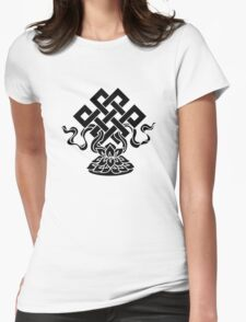 Eternal Knot, Lotus Flower, Buddhism, Lucky Charm Womens Fitted T-Shirt