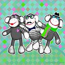 Hipster Sock Monkey Friends by Jamie Wogan Edwards