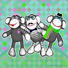 Hipster Sock Monkey Friends by Jamie Wogan Edwards