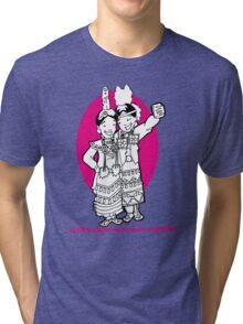 #firstletmetakeaselfie Jingle dress dancer Tri-blend T-Shirt