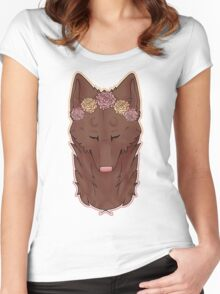 purrty brown wolfie Women's Fitted Scoop T-Shirt