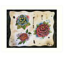 3 Roses - Tattoo Flash Art Print