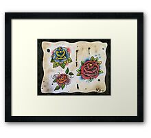 3 Roses - Tattoo Flash Framed Print