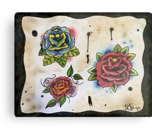 3 Roses - Tattoo Flash Metal Print