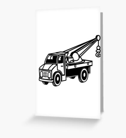 Car toy truck crane tow truck-mounted crane truck  Greeting Card