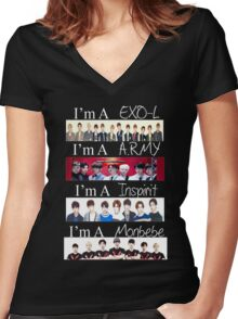 EXO, BTS, INFINITE, AND MONSTA X - I'M A FAN Women's Fitted V-Neck T-Shirt