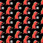 Black Funny Cartoon Dinosaur Football by Boriana Giormova