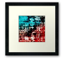 Turquoise And Red Mosaic Tiling Framed Print