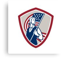 American Patriot Holding USA Flag Shield Canvas Print