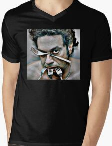 dramatic face of man with four steel forks Mens V-Neck T-Shirt