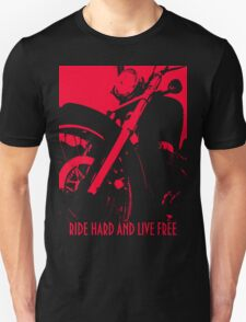 RIDE HARD AND LIVE FREE T Shirt Design No 2, Red On Black BIKER T Shirt Design by Christopher McCabe Unisex T-Shirt