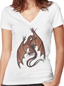Smaug on your shirt! Women's Fitted V-Neck T-Shirt