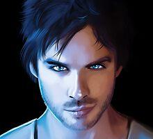 Damon Salvatore Vampire Diaries Fan Art Print by sugarpoultry