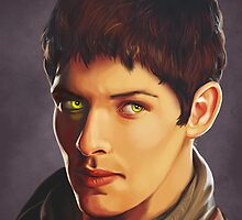 Merlin Colin Morgan Fan Art Print by sugarpoultry