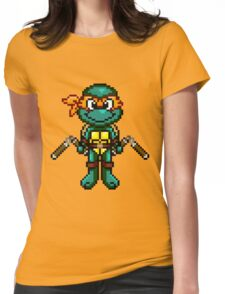TMNT Michelangelo Pixel Womens Fitted T-Shirt