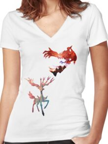 Xerneas vs Yveltal Women's Fitted V-Neck T-Shirt