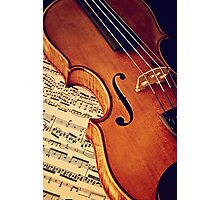 Old rare violin on note sheet Photographic Print