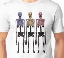 3 Multi Coloured Skeleton, Cool Hipster Original Two Tone Unisex T-Shirt
