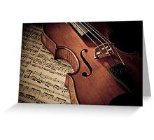 Old rare violin on note sheet Greeting Card