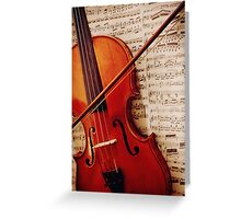 old violin with bow Greeting Card