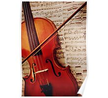 old violin with bow Poster