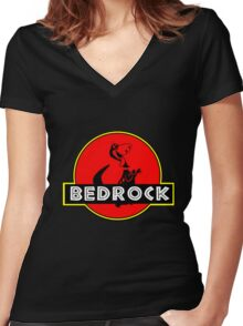 BEDROCK Women's Fitted V-Neck T-Shirt