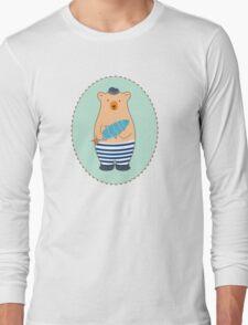 Cute Fish Man Bear with Fish  Long Sleeve T-Shirt