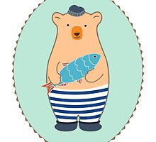 Cute Fish Man Bear with Fish  by mspinecone