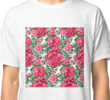 Watercolor pattern with heart and cammelias Classic T-Shirt