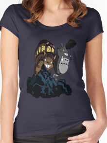 Totoro and Cat Bus Women's Fitted Scoop T-Shirt