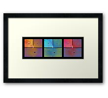 Triptych Gold Cyan Magenta - Colorful Rust Framed Print