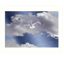 Seagull with Matthew 6:26-27 in White Letters Art Print